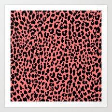 Neon Coral Leopard Art Print