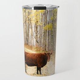 Cow in aspens Travel Mug