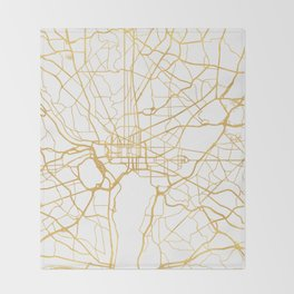 WASHINGTON D.C. DISTRICT OF COLUMBIA CITY STREET MAP ART Throw Blanket