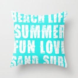 Beach Life- Turquoise Throw Pillow