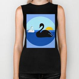Black and White Swans on Blue Lake Biker Tank