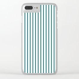 Forget Me Not Blue Pinstripe on White Clear iPhone Case