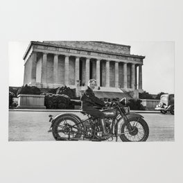 Sally Halterman - First Woman to be Granted a License to Operate a Motorcycle - © Doc Braham; All Ri Rug