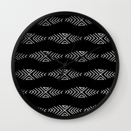 mudcloth 10 minimal textured black and white pattern home decor minimalist beach Wall Clock