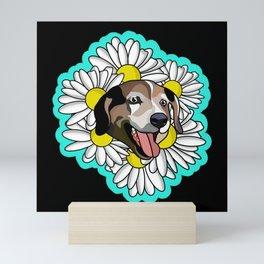 Black daisy Mini Art Print