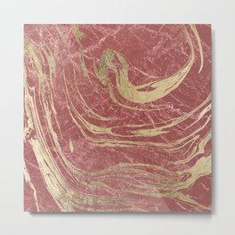 Elegant burgundy faux gold stylish modern marble Metal Print