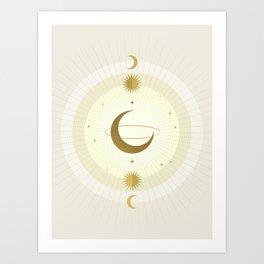 Moon Galaxy - Gold Art Print