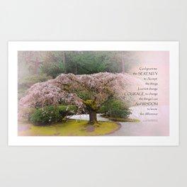 Serenity Prayer Cherry Tree One Art Print