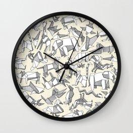 origami animal ditsy pearl Wall Clock