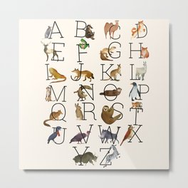 Watercolor Animal Alphabet  Metal Print