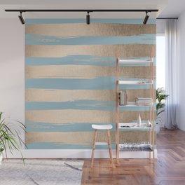 Painted Stripes Gold Tropical Ocean Sea Blue Wall Mural
