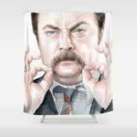 swanson Shower Curtains featuring Swanson Mustache by Olechka