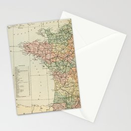 Old Map of the West of France Stationery Cards