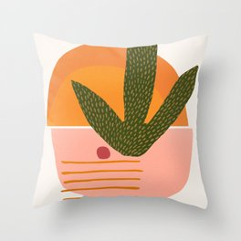 Desert Sunset With Cactus and Cherry Throw Pillow