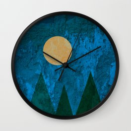 Ancestral, Abstract Landscape Mountains Wall Clock