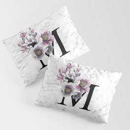 Letter 'M' Magnolia Flower Typography Pillow Sham