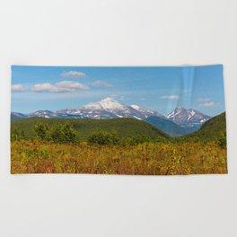 Fall and volcanoes Beach Towel