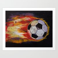 soccer Art Prints featuring Soccer by Michael Creese