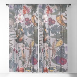 Floral and Birds XL Sheer Curtain