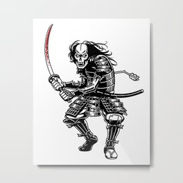 Zombie Samurai Metal Print