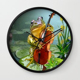 Realistic Print of Frog Playing Cello Wall Clock