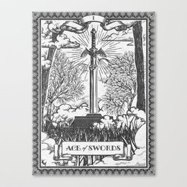 Legend of Zelda Master Sword Vintage Tarot Scene Canvas Print