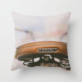 Vintage Bike Saddle Throw Pillow