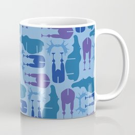 Blue Moose Pattern Coffee Mug