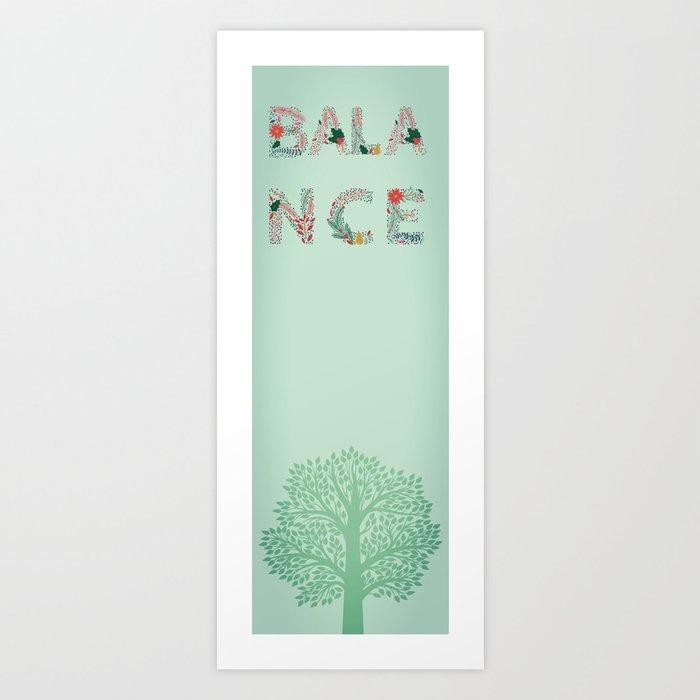 Yoga Mat - Balance | Tree | Aqua Art Print