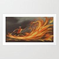aang Art Prints featuring Avatar Aang by Zack Coleman