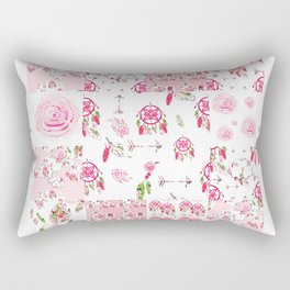 Shabby Chic Dream Catcher and feather Patchwork Rectangular Pillow