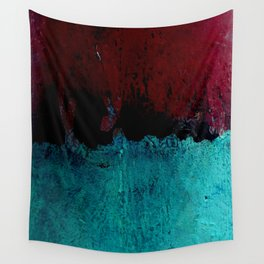 Red Rust and Blue Wall Tapestry