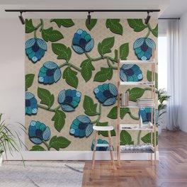 3D Blue Hops Wall Mural