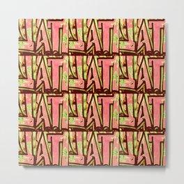 Pink and green abstract urban graffiti inspired modern pattern Metal Print