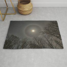 Moon Halo in the forest Rug