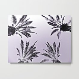 4 Palms in Purple Metal Print