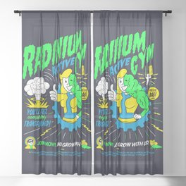 Radinium Gym - Fitness - Gym - Funny - Illustration - Nuclear Sheer Curtain