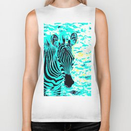 Pop Art Zebra 1 Biker Tank