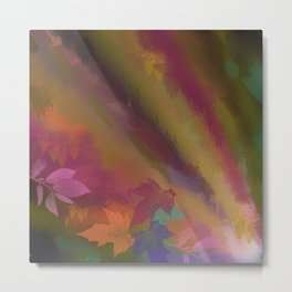 Autumn splendour, abstract painting with leaves Metal Print