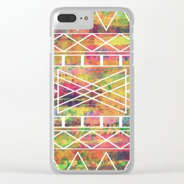 Aztec Andes Tribal, Geometric Shapes Pattern, Itaya Clear iPhone Case