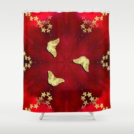 gold butterflies and flowers on red kaleidoscope Shower Curtain