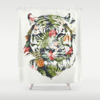 tiger Shower Curtains featuring Tropical tiger by Robert Farkas