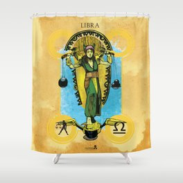 """Ars Tarot of the 12 Zodiac: """"Libra - Justice"""" Shower Curtain"""