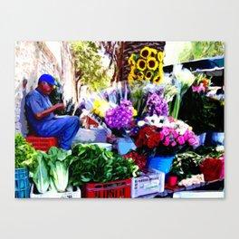 Flower stand in San Miguel de Allende Canvas Print