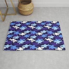 Blue Sharks Camouflage Pattern Rug