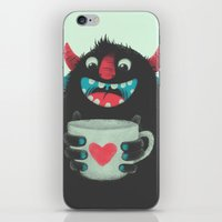 cup iPhone & iPod Skins featuring Demon with a cup of coffee by Lime