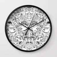 it crowd Wall Clocks featuring Crowd by Sára Szabó