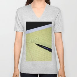 Notepad Pen Help Unisex V-Neck