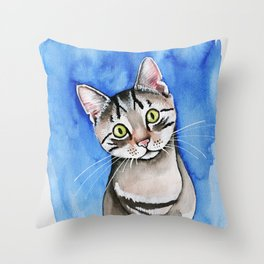 meow? // watercolor tabby cat portrait Throw Pillow