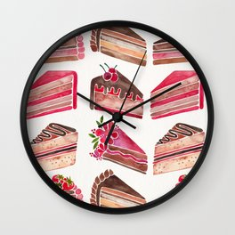 Cake Slices – Pink & Brown Palette Wall Clock